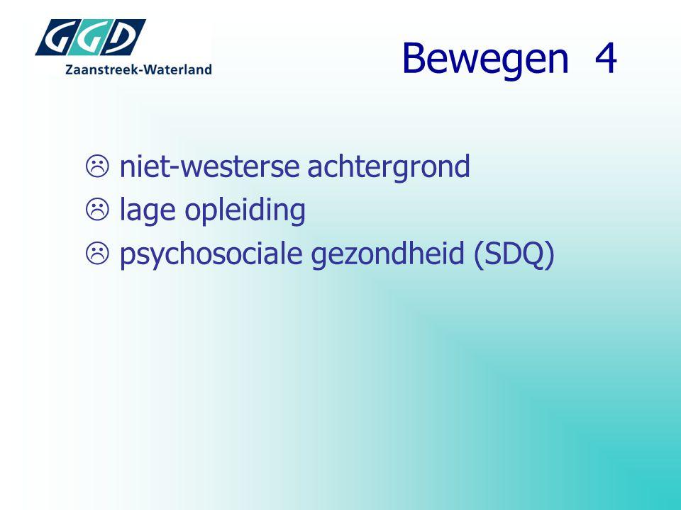  niet-westerse achtergrond  lage opleiding  psychosociale gezondheid (SDQ) Bewegen 4