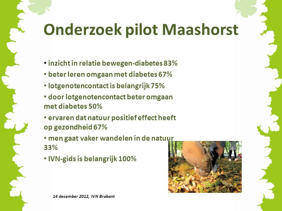 Onderzoek pilot Maashorst inzicht in relatie bewegen-diabetes 83% beter leren omgaan met diabetes 67% lotgenotencontact is belangrijk 75% door lotgeno