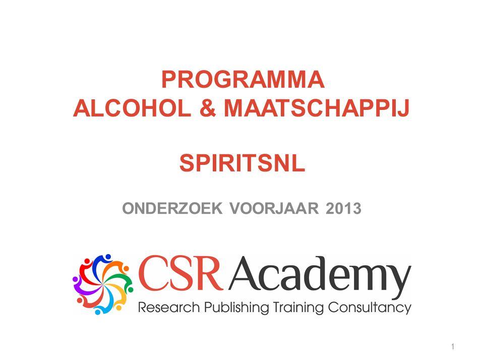 1 PROGRAMMA ALCOHOL & MAATSCHAPPIJ SPIRITSNL ONDERZOEK VOORJAAR 2013