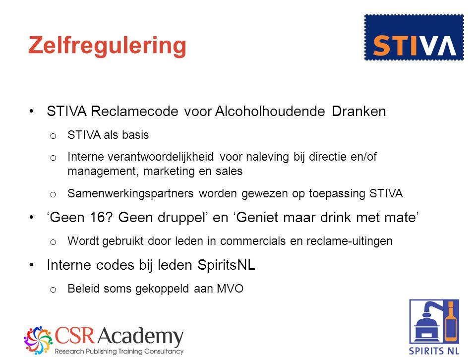 6 Zelfregulering STIVA Reclamecode voor Alcoholhoudende Dranken o STIVA als basis o Interne verantwoordelijkheid voor naleving bij directie en/of management, marketing en sales o Samenwerkingspartners worden gewezen op toepassing STIVA 'Geen 16.