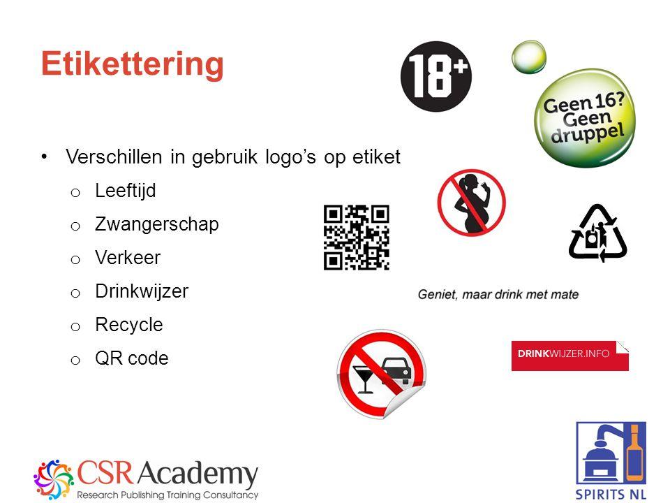 7 Etikettering Verschillen in gebruik logo's op etiket o Leeftijd o Zwangerschap o Verkeer o Drinkwijzer o Recycle o QR code