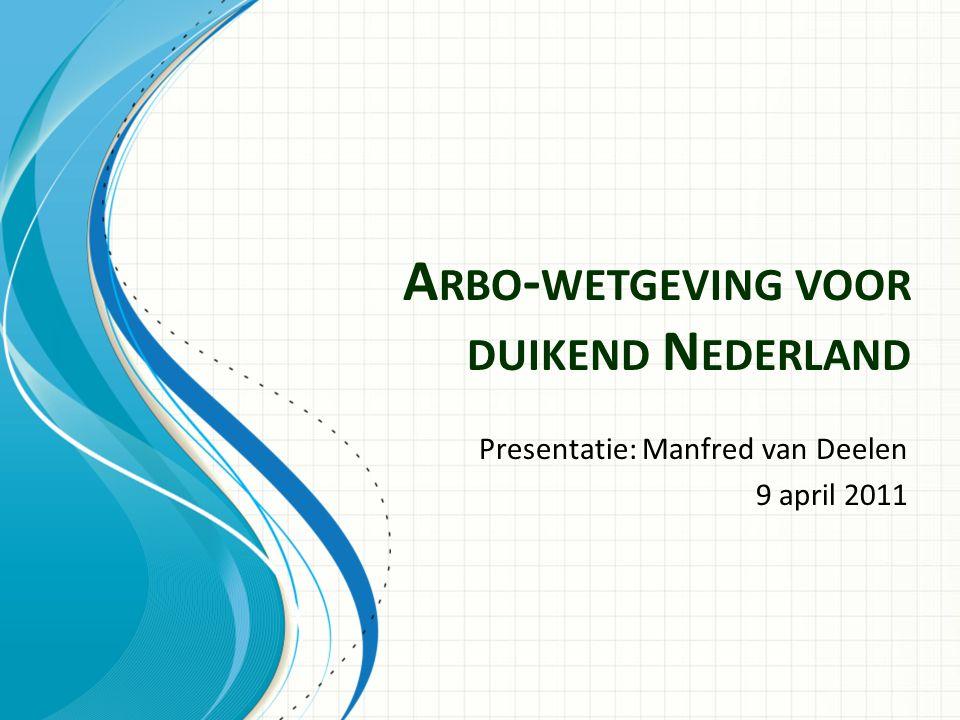 A RBO - WETGEVING VOOR DUIKEND N EDERLAND Presentatie: Manfred van Deelen 9 april 2011