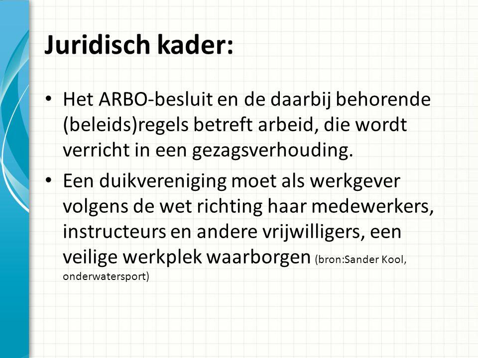 Juridisch kader: Het ARBO-besluit en de daarbij behorende (beleids)regels betreft arbeid, die wordt verricht in een gezagsverhouding.