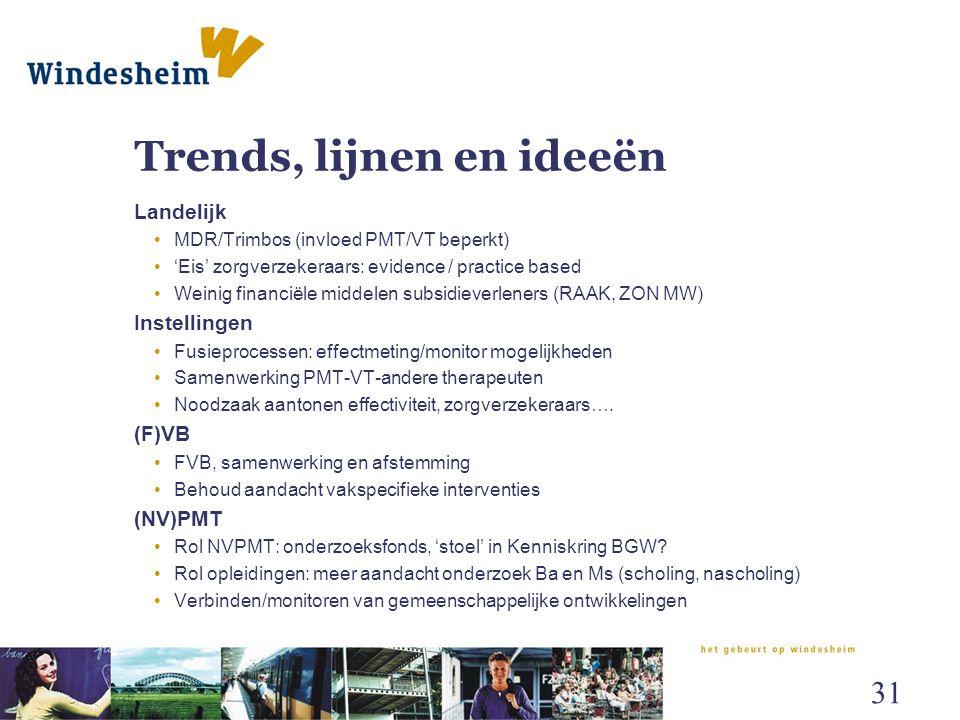 Trends, lijnen en ideeën Landelijk MDR/Trimbos (invloed PMT/VT beperkt) 'Eis' zorgverzekeraars: evidence / practice based Weinig financiële middelen s