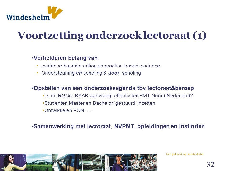 Voortzetting onderzoek lectoraat (1) Verhelderen belang van evidence-based practice en practice-based evidence Ondersteuning en scholing & door scholi