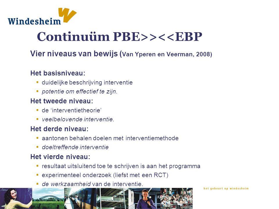 Continuüm PBE>><<EBP Vier niveaus van bewijs ( Van Yperen en Veerman, 2008) Het basisniveau:  duidelijke beschrijving interventie  potentie om effec