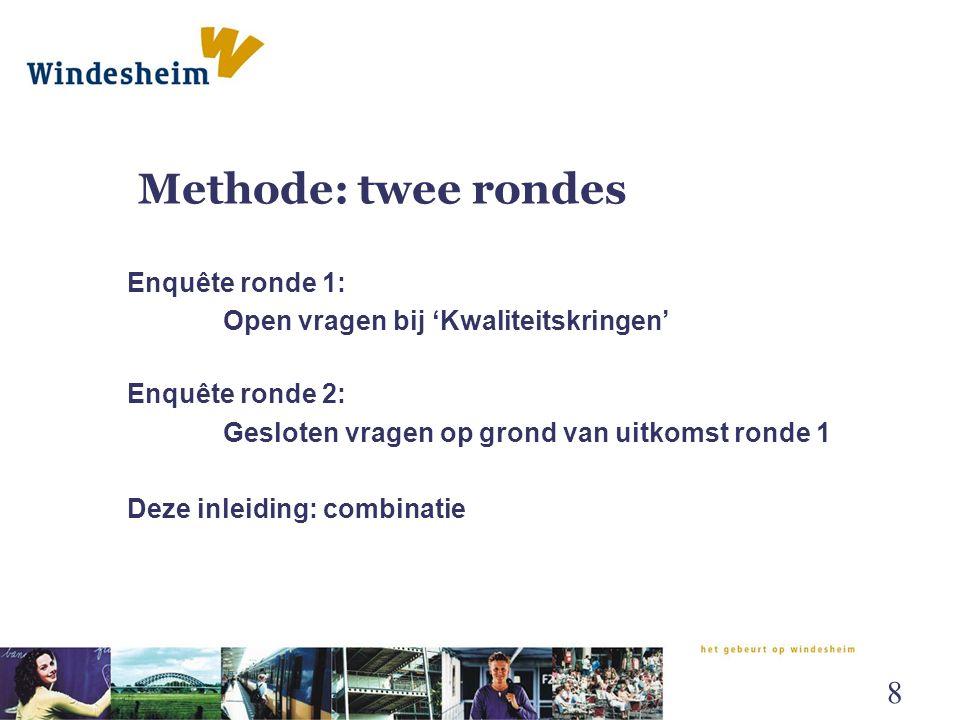 Ordening onderzoeken Vier categorieën: 1.Effectiviteit van de methode 2.Efficiëntie van de methode 3.Diagnostiek en methodiek 4.Cliënttevredenheid