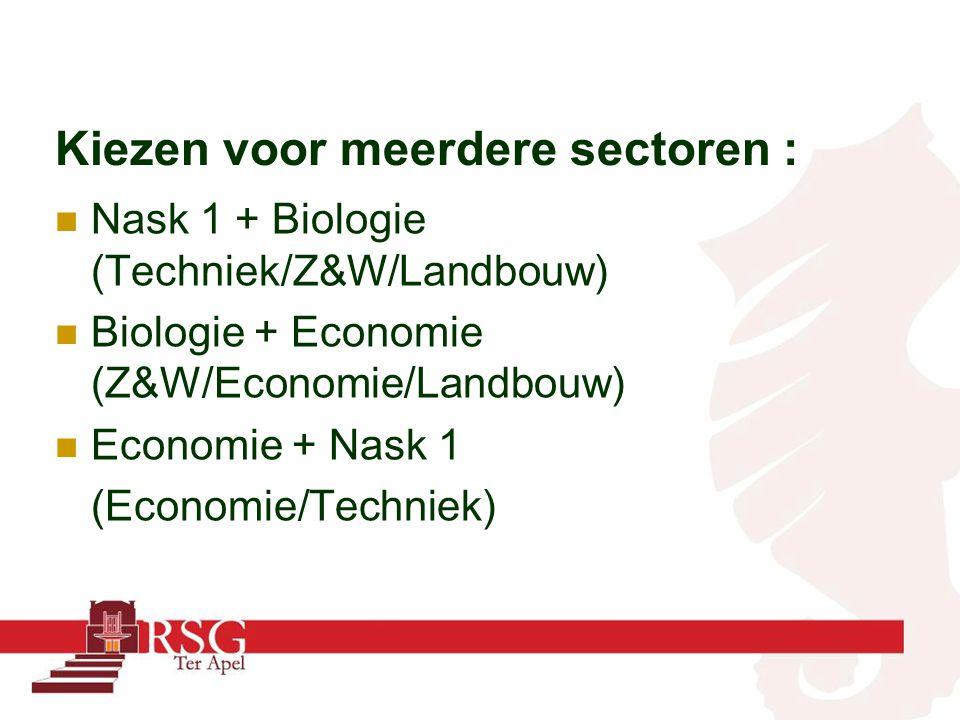 Kiezen voor meerdere sectoren : Nask 1 + Biologie (Techniek/Z&W/Landbouw) Biologie + Economie (Z&W/Economie/Landbouw) Economie + Nask 1 (Economie/Tech