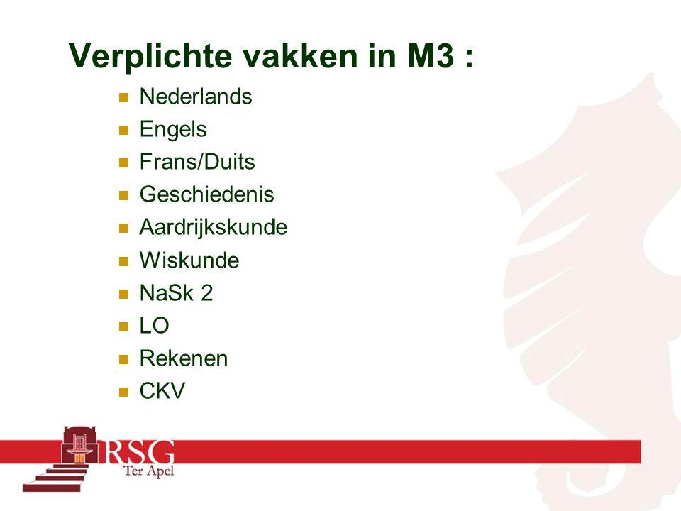 Verplichte vakken in M3 : Nederlands Engels Frans/Duits Geschiedenis Aardrijkskunde Wiskunde NaSk 2 LO Rekenen CKV