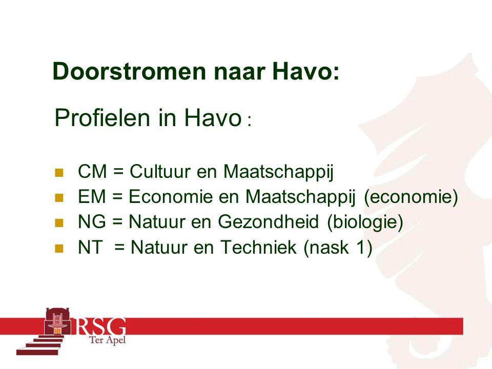 Doorstromen naar Havo: Profielen in Havo : CM = Cultuur en Maatschappij EM = Economie en Maatschappij (economie) NG = Natuur en Gezondheid (biologie)