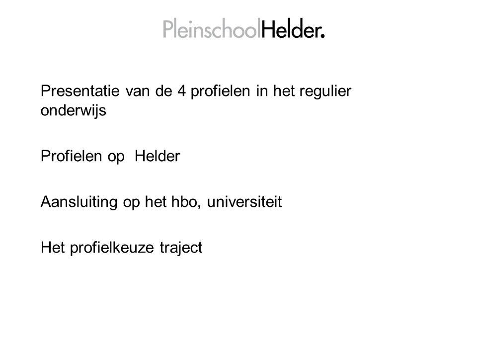 Presentatie van de 4 profielen in het regulier onderwijs Profielen op Helder Aansluiting op het hbo, universiteit Het profielkeuze traject