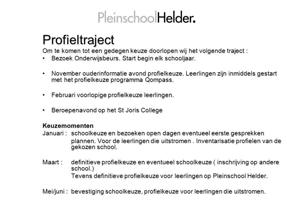 Profieltraject Om te komen tot een gedegen keuze doorlopen wij het volgende traject : Bezoek Onderwijsbeurs. Start begin elk schooljaar.Bezoek Onderwi