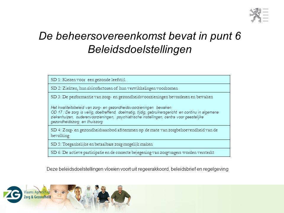 De beheersovereenkomst bevat in punt 6 Beleidsdoelstellingen SD 1: Kiezen voor een gezonde leefstijl.