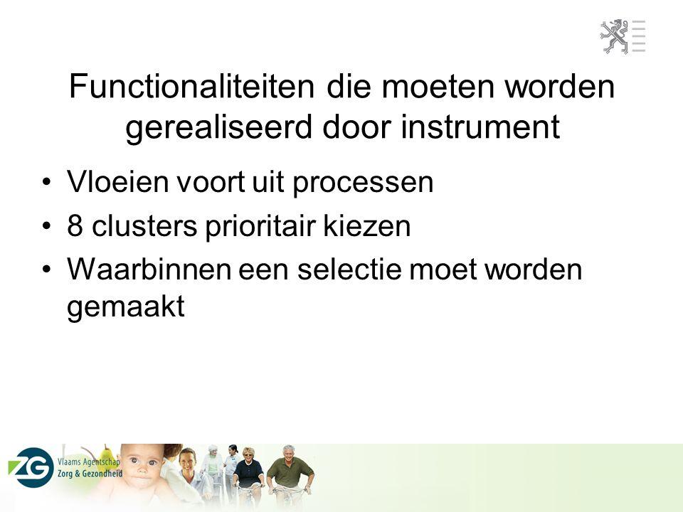 Functionaliteiten die moeten worden gerealiseerd door instrument Vloeien voort uit processen 8 clusters prioritair kiezen Waarbinnen een selectie moet worden gemaakt