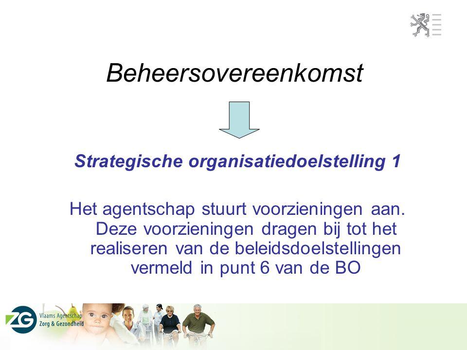 Beheersovereenkomst Strategische organisatiedoelstelling 1 Het agentschap stuurt voorzieningen aan.