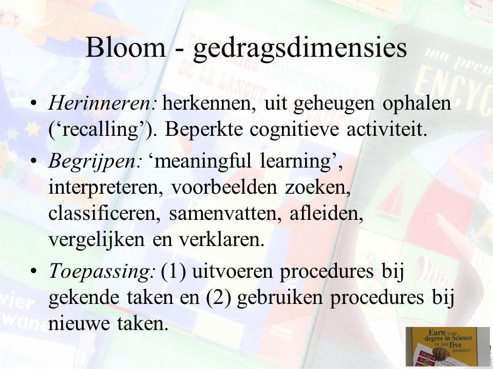 Bloom - gedragsdimensies Herinneren: herkennen, uit geheugen ophalen ('recalling').