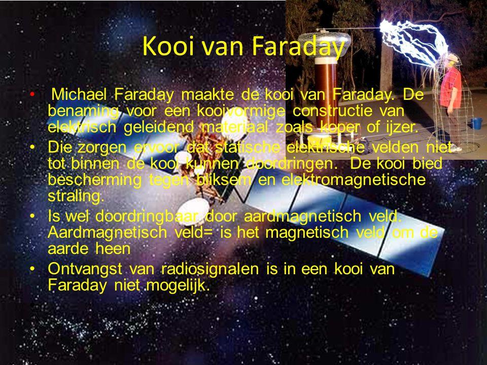 Kooi van Faraday Michael Faraday maakte de kooi van Faraday. De benaming voor een kooivormige constructie van elektrisch geleidend materiaal zoals kop