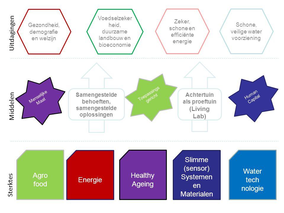Agro food Energie Healthy Ageing Slimme (sensor) Systemen en Materialen Water tech nologie Samengestelde behoeften, samengestelde oplossingen Achtertuin als proeftuin (Living Lab) Gezondheid, demografie en welzijn Voedselzeker heid, duurzame landbouw en bioeconomie Zeker, schone en efficiënte energie Schone, veilige water voorziening Sterktes Middelen Uitdagingen Human Capital Menselijke Maat Toepassings gericht