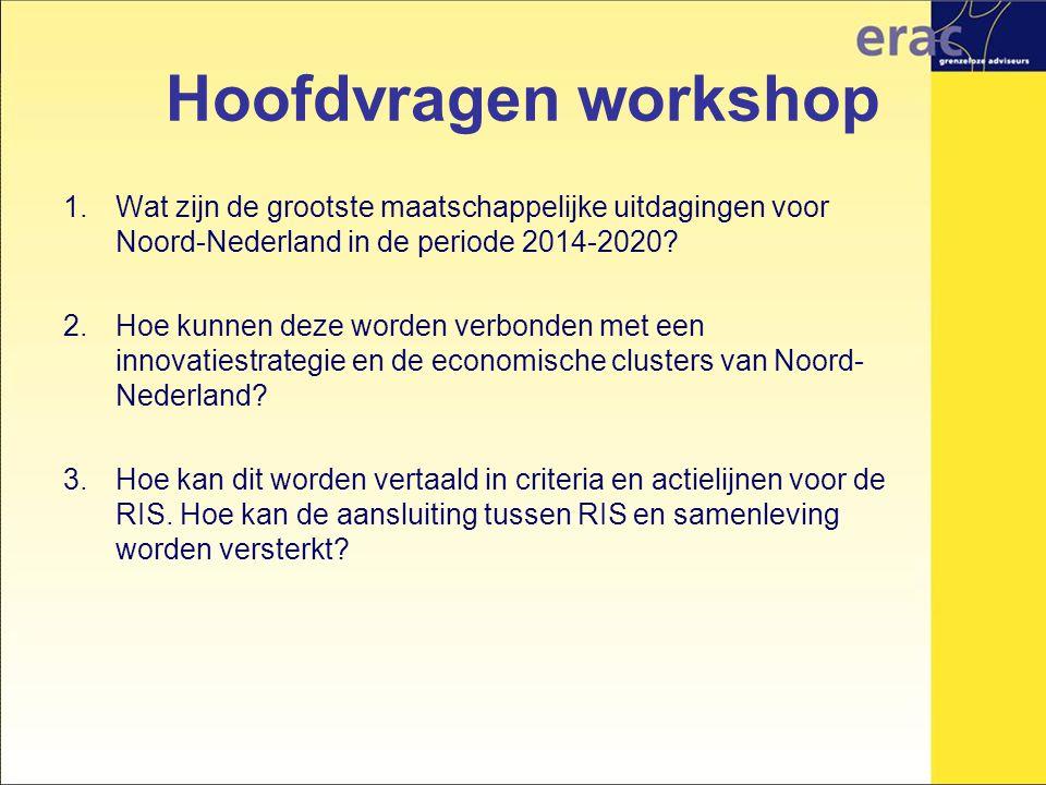 Hoofdvragen workshop 1.Wat zijn de grootste maatschappelijke uitdagingen voor Noord-Nederland in de periode 2014-2020.