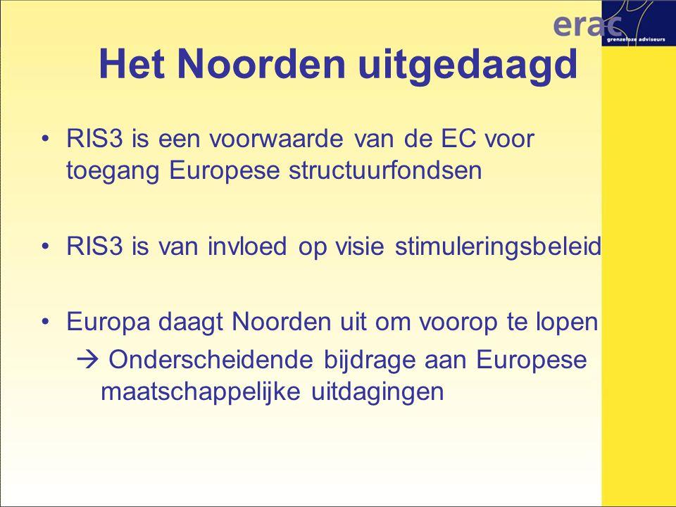 Het Noorden uitgedaagd RIS3 is een voorwaarde van de EC voor toegang Europese structuurfondsen RIS3 is van invloed op visie stimuleringsbeleid Europa daagt Noorden uit om voorop te lopen  Onderscheidende bijdrage aan Europese maatschappelijke uitdagingen