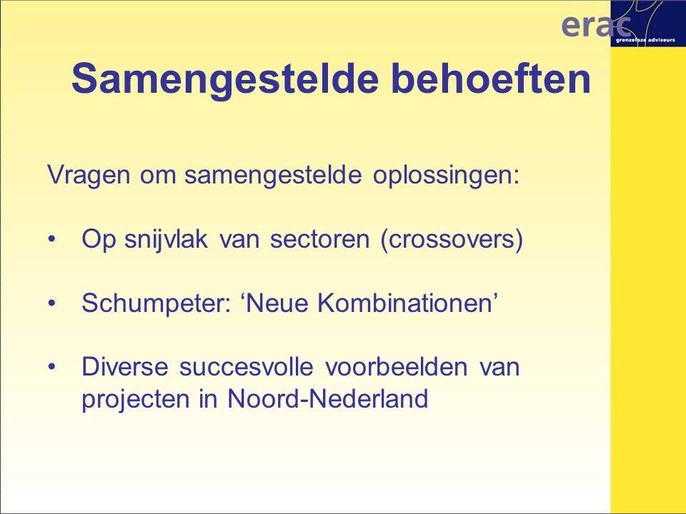 Samengestelde behoeften Vragen om samengestelde oplossingen: Op snijvlak van sectoren (crossovers) Schumpeter: 'Neue Kombinationen' Diverse succesvolle voorbeelden van projecten in Noord-Nederland