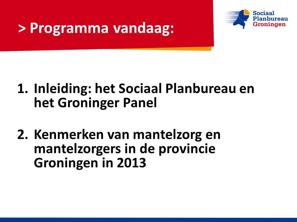 > Programma vandaag: 1.Inleiding: het Sociaal Planbureau en het Groninger Panel 2.Kenmerken van mantelzorg en mantelzorgers in de provincie Groningen