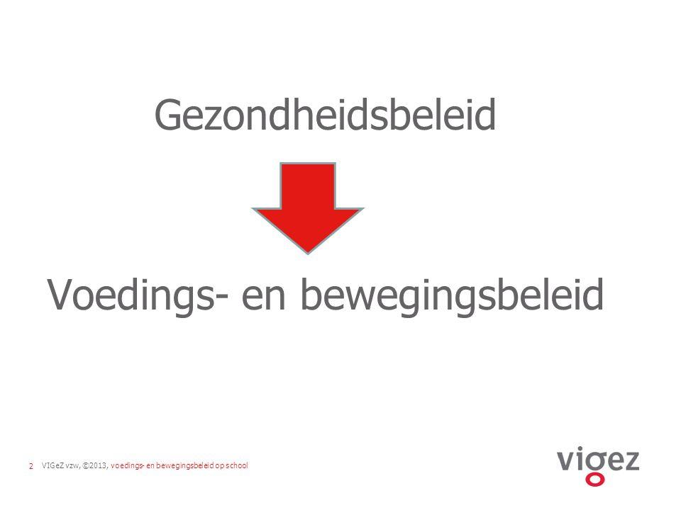 VIGeZ vzw, ©2013, voedings- en bewegingsbeleid op school2 Gezondheidsbeleid Voedings- en bewegingsbeleid