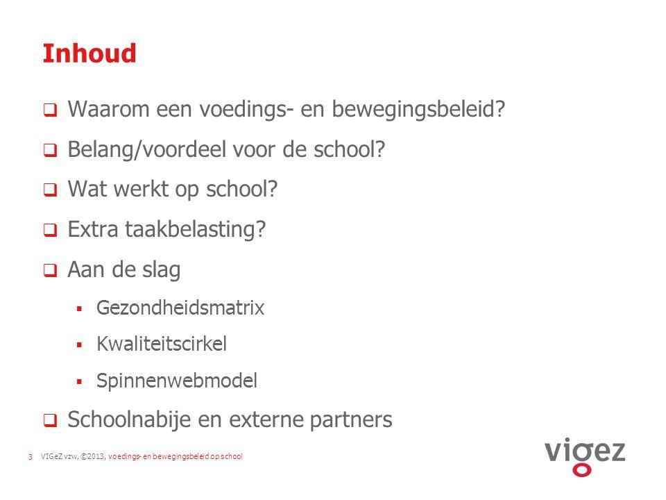 VIGeZ vzw, ©2013, voedings- en bewegingsbeleid op school3 Inhoud  Waarom een voedings- en bewegingsbeleid?  Belang/voordeel voor de school?  Wat we