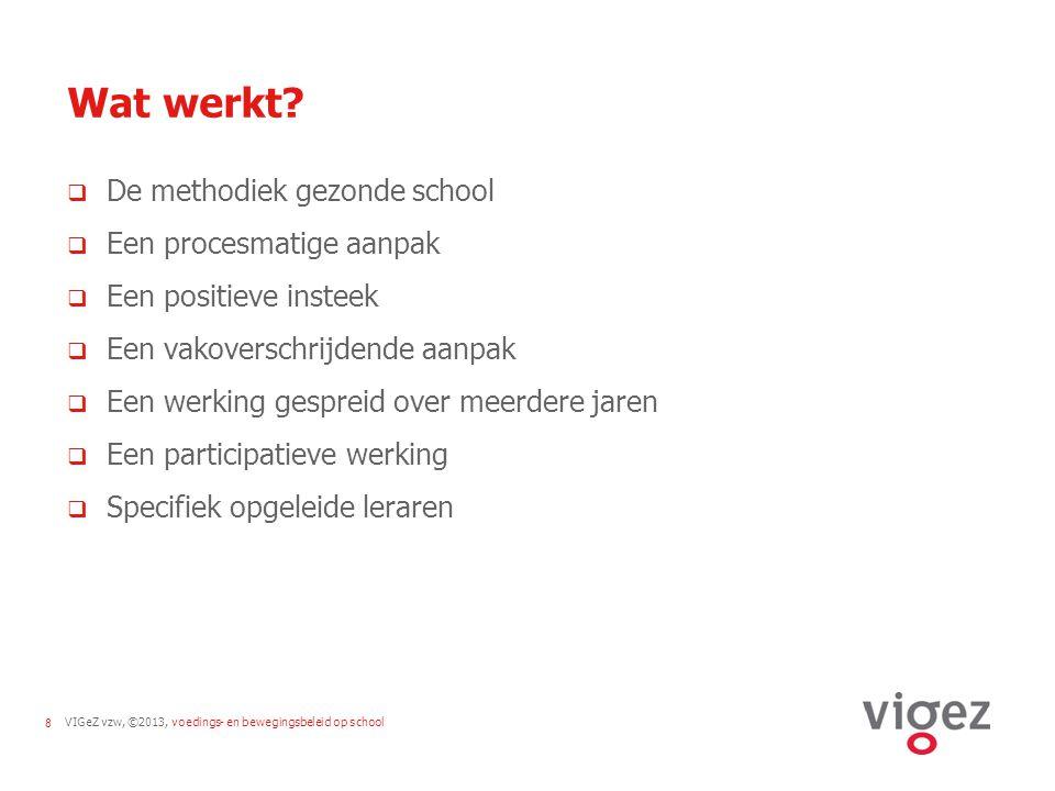 VIGeZ vzw, ©2013, voedings- en bewegingsbeleid op school8 Wat werkt?  De methodiek gezonde school  Een procesmatige aanpak  Een positieve insteek 