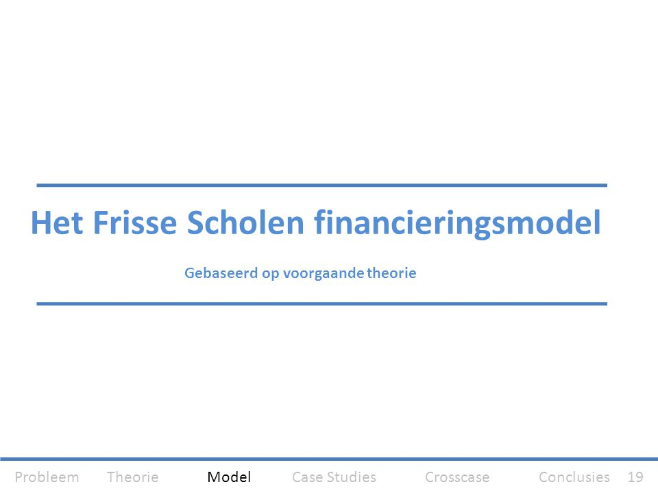 Het Frisse Scholen financieringsmodel Gebaseerd op voorgaande theorie Probleem Theorie Model Case Studies Crosscase Conclusies 19