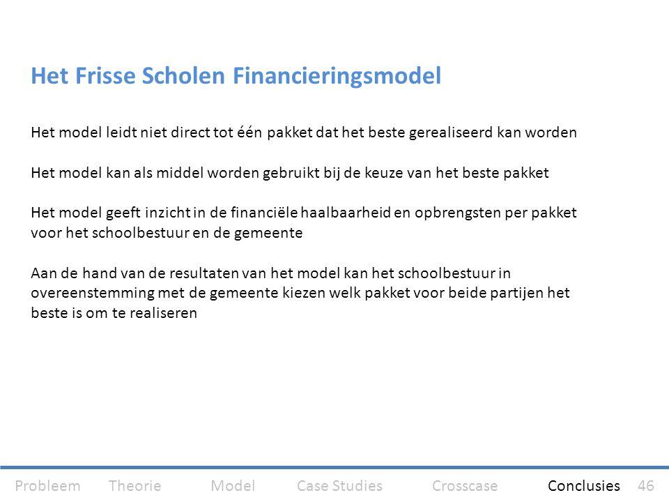 Het Frisse Scholen Financieringsmodel Het model leidt niet direct tot één pakket dat het beste gerealiseerd kan worden Het model kan als middel worden