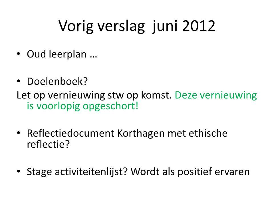 Vorig verslag juni 2012 Oud leerplan … Doelenboek? Let op vernieuwing stw op komst. Deze vernieuwing is voorlopig opgeschort! Reflectiedocument Kortha