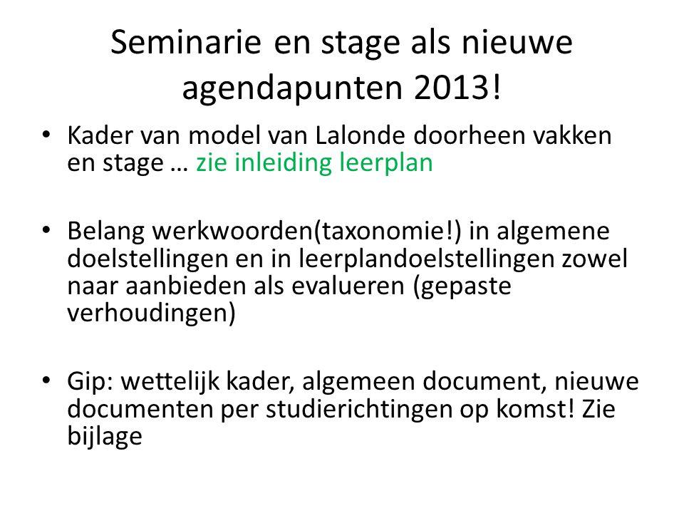 Seminarie en stage als nieuwe agendapunten 2013! Kader van model van Lalonde doorheen vakken en stage … zie inleiding leerplan Belang werkwoorden(taxo