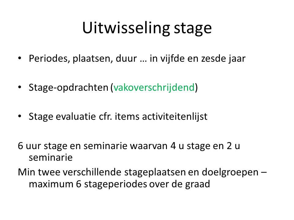 Uitwisseling stage Periodes, plaatsen, duur … in vijfde en zesde jaar Stage-opdrachten (vakoverschrijdend) Stage evaluatie cfr. items activiteitenlijs