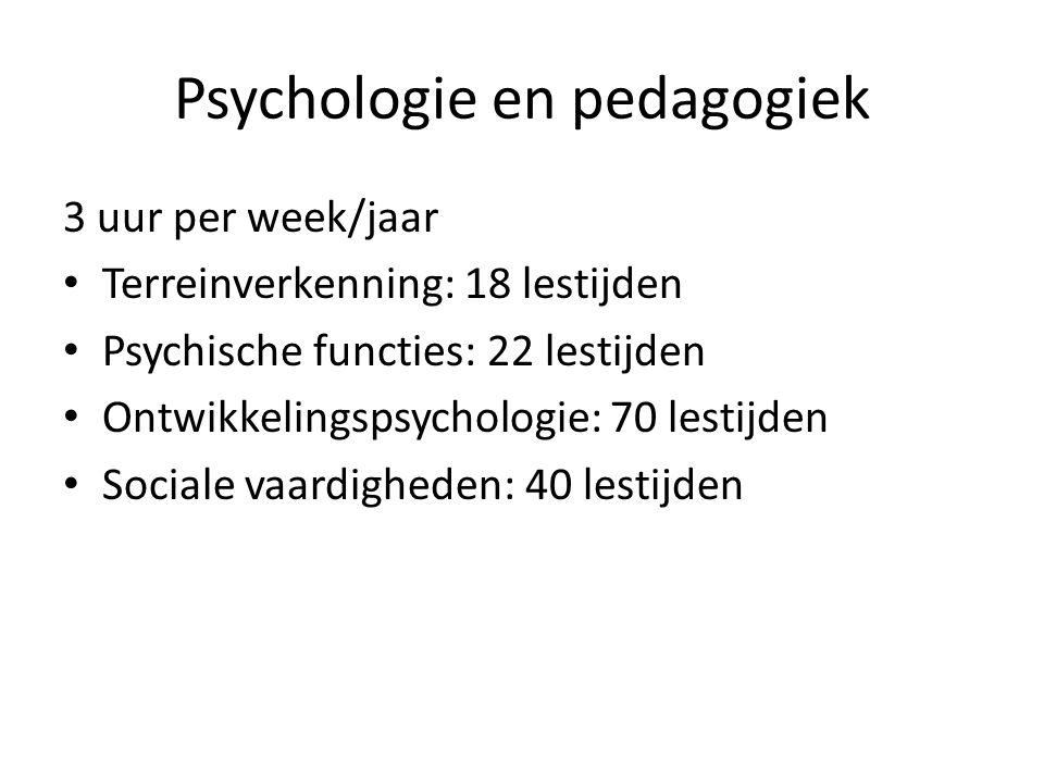 Psychologie en pedagogiek 3 uur per week/jaar Terreinverkenning: 18 lestijden Psychische functies: 22 lestijden Ontwikkelingspsychologie: 70 lestijden Sociale vaardigheden: 40 lestijden