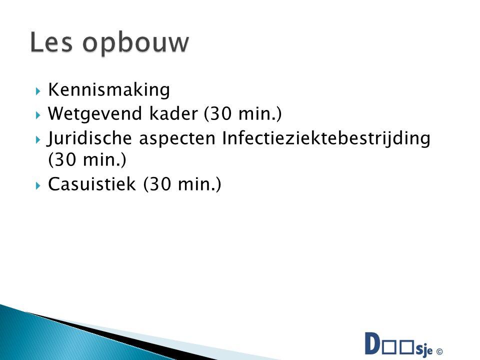  Kennismaking  Wetgevend kader (30 min.)  Juridische aspecten Infectieziektebestrijding (30 min.)  Casuistiek (30 min.)