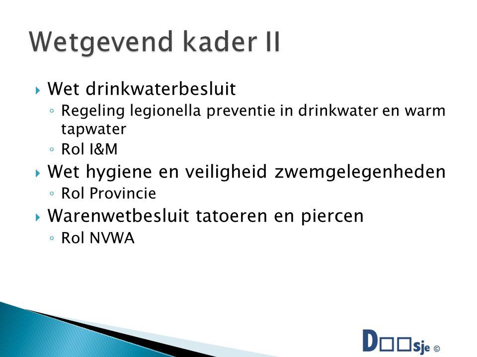  Wet drinkwaterbesluit ◦ Regeling legionella preventie in drinkwater en warm tapwater ◦ Rol I&M  Wet hygiene en veiligheid zwemgelegenheden ◦ Rol Provincie  Warenwetbesluit tatoeren en piercen ◦ Rol NVWA