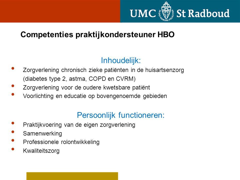 Competenties praktijkondersteuner HBO Inhoudelijk: Zorgverlening chronisch zieke patiënten in de huisartsenzorg (diabetes type 2, astma, COPD en CVRM)