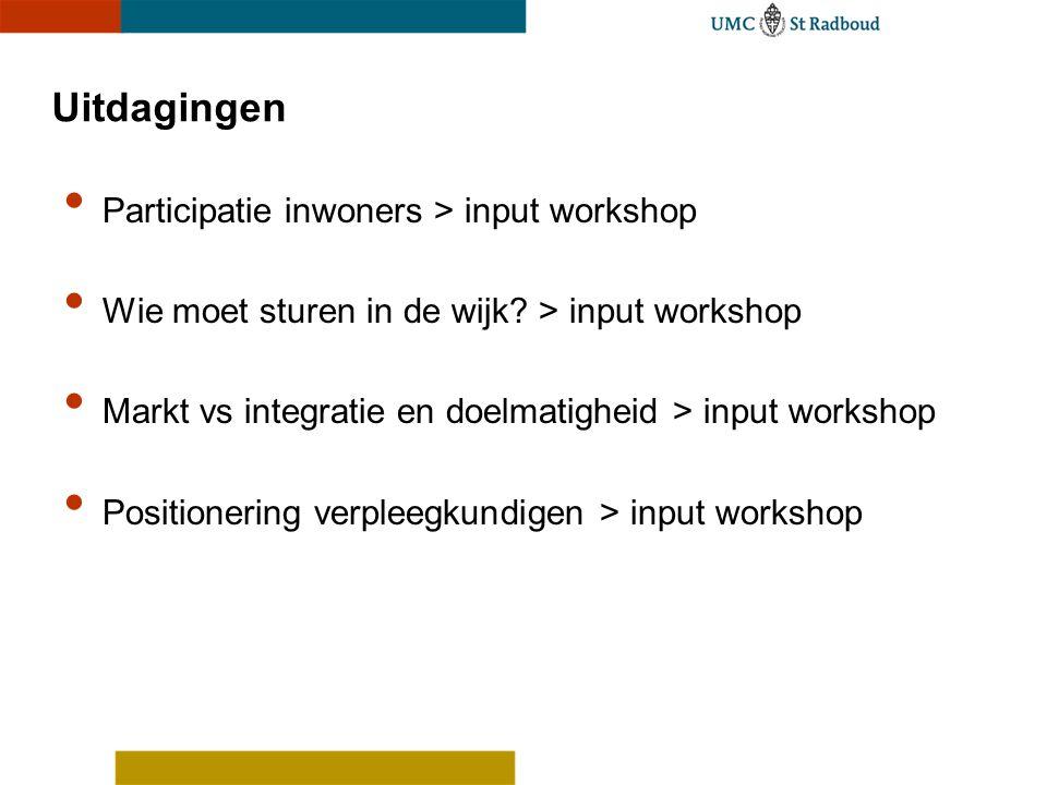 Uitdagingen Participatie inwoners > input workshop Wie moet sturen in de wijk? > input workshop Markt vs integratie en doelmatigheid > input workshop