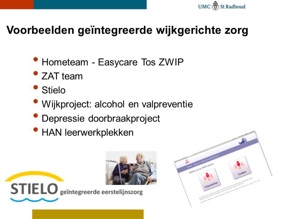 Voorbeelden geïntegreerde wijkgerichte zorg Hometeam - Easycare Tos ZWIP ZAT team Stielo Wijkproject: alcohol en valpreventie Depressie doorbraakproje