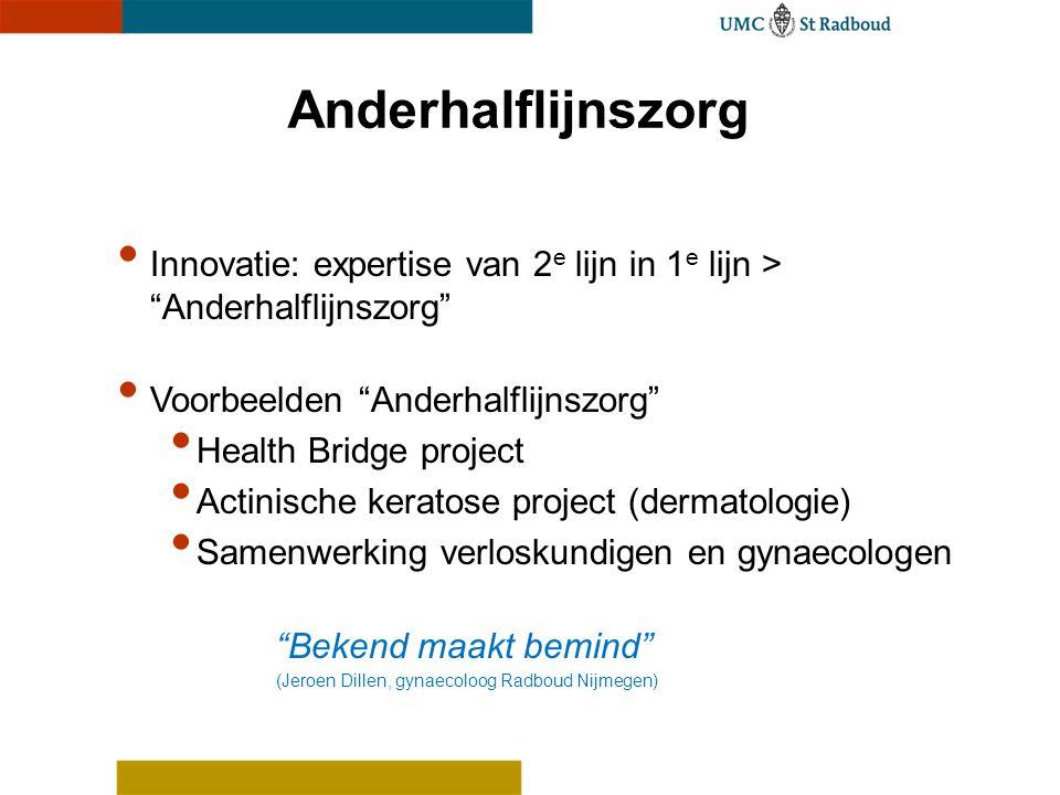 """Anderhalflijnszorg Innovatie: expertise van 2 e lijn in 1 e lijn > """"Anderhalflijnszorg"""" Voorbeelden """"Anderhalflijnszorg"""" Health Bridge project Actinis"""