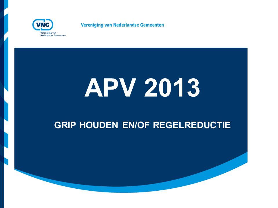 APV 2013 GRIP HOUDEN EN/OF REGELREDUCTIE
