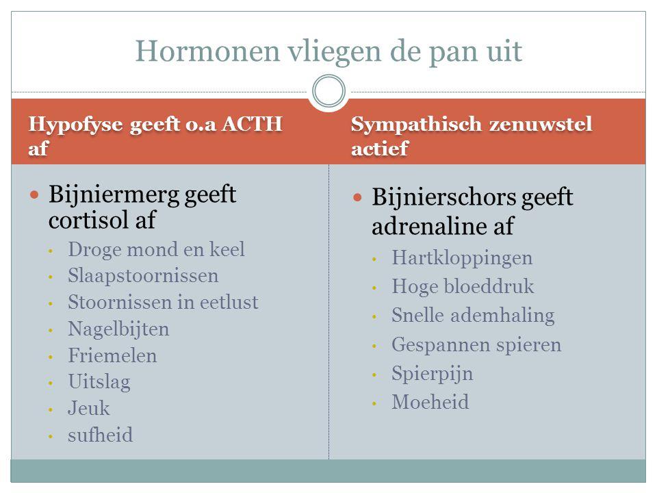 Hypofyse geeft o.a ACTH af Sympathisch zenuwstel actief Bijniermerg geeft cortisol af Droge mond en keel Slaapstoornissen Stoornissen in eetlust Nagel