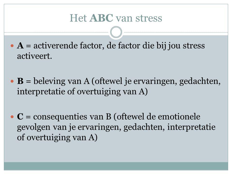 Het ABC van stress A = activerende factor, de factor die bij jou stress activeert. B = beleving van A (oftewel je ervaringen, gedachten, interpretatie