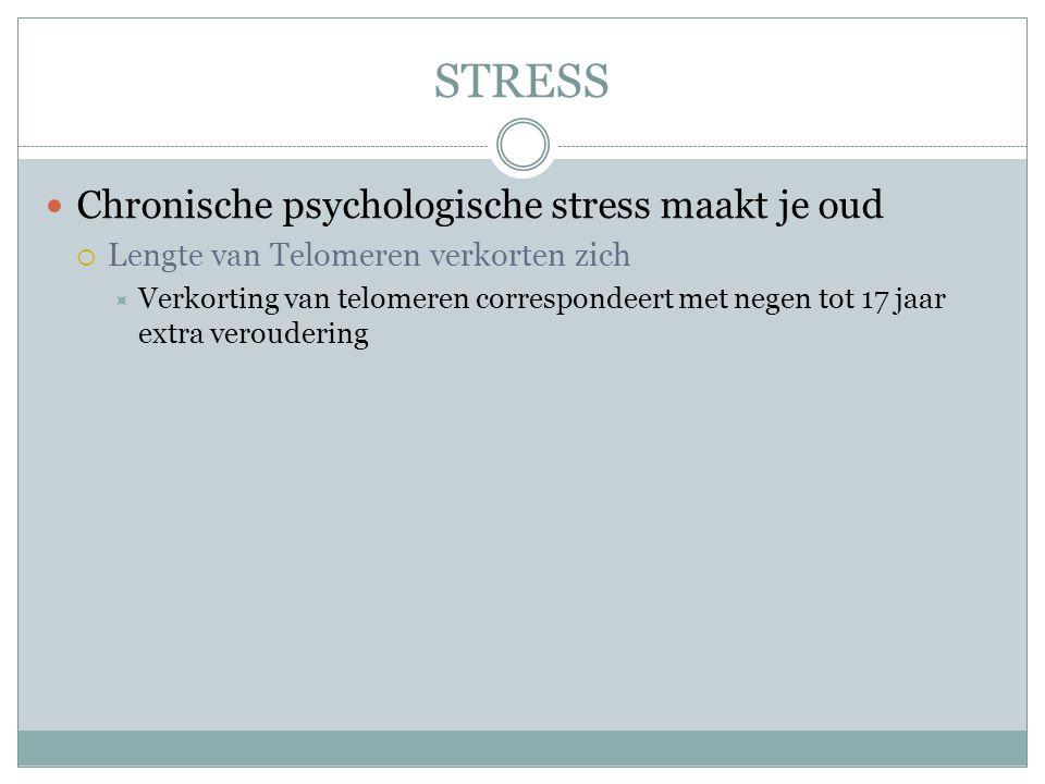 STRESS Chronische psychologische stress maakt je oud  Lengte van Telomeren verkorten zich  Verkorting van telomeren correspondeert met negen tot 17