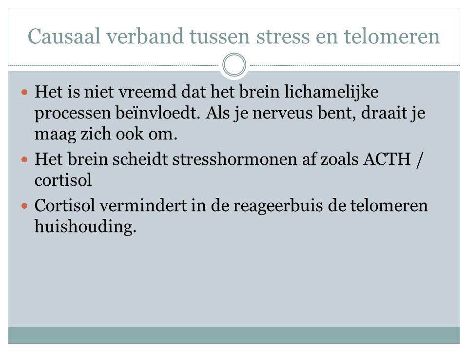 Causaal verband tussen stress en telomeren Het is niet vreemd dat het brein lichamelijke processen beïnvloedt. Als je nerveus bent, draait je maag zic