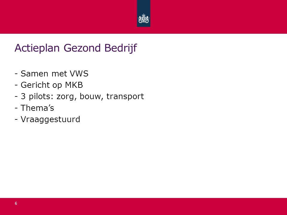 Actieplan Gezond Bedrijf - Samen met VWS - Gericht op MKB - 3 pilots: zorg, bouw, transport - Thema's - Vraaggestuurd 6