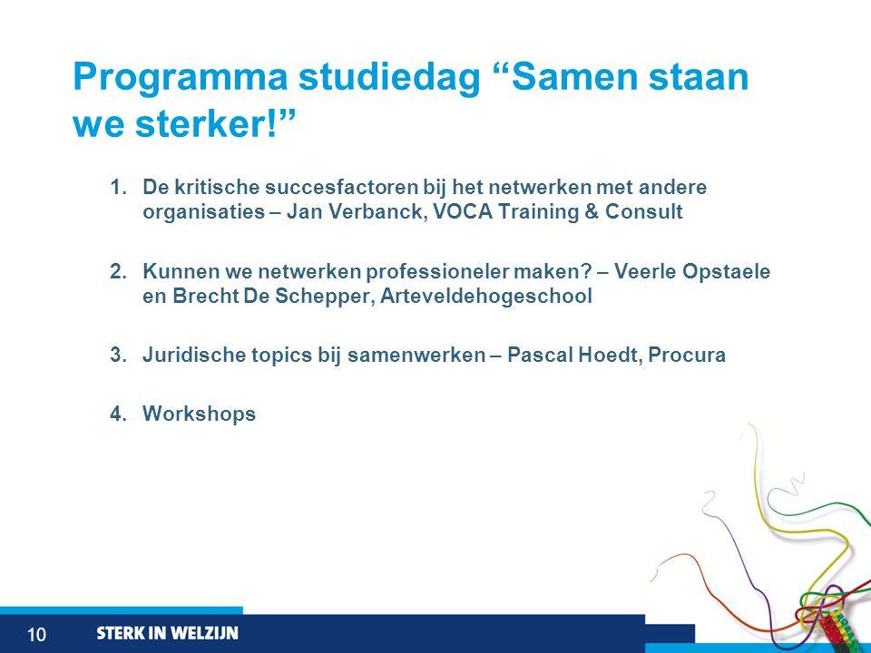 """10 Programma studiedag """"Samen staan we sterker!"""" 1.De kritische succesfactoren bij het netwerken met andere organisaties – Jan Verbanck, VOCA Training"""