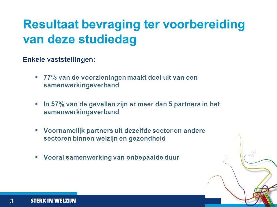 3 Resultaat bevraging ter voorbereiding van deze studiedag Enkele vaststellingen:  77% van de voorzieningen maakt deel uit van een samenwerkingsverba