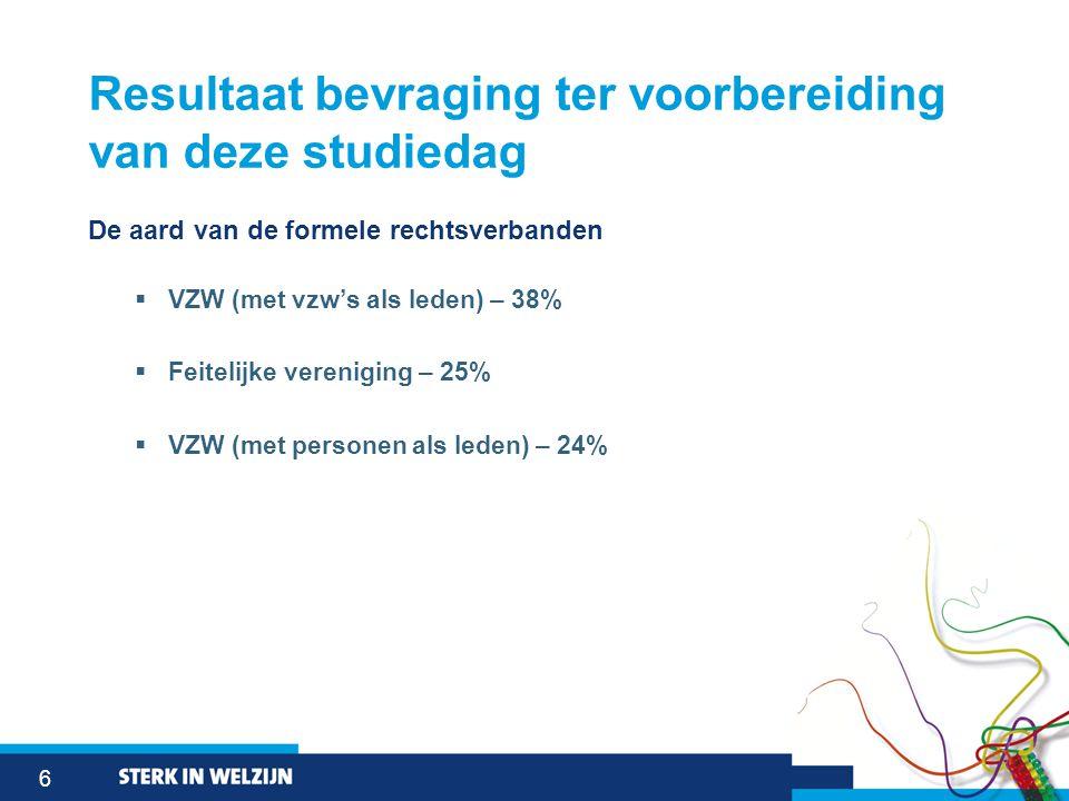 6 Resultaat bevraging ter voorbereiding van deze studiedag De aard van de formele rechtsverbanden  VZW (met vzw's als leden) – 38%  Feitelijke veren